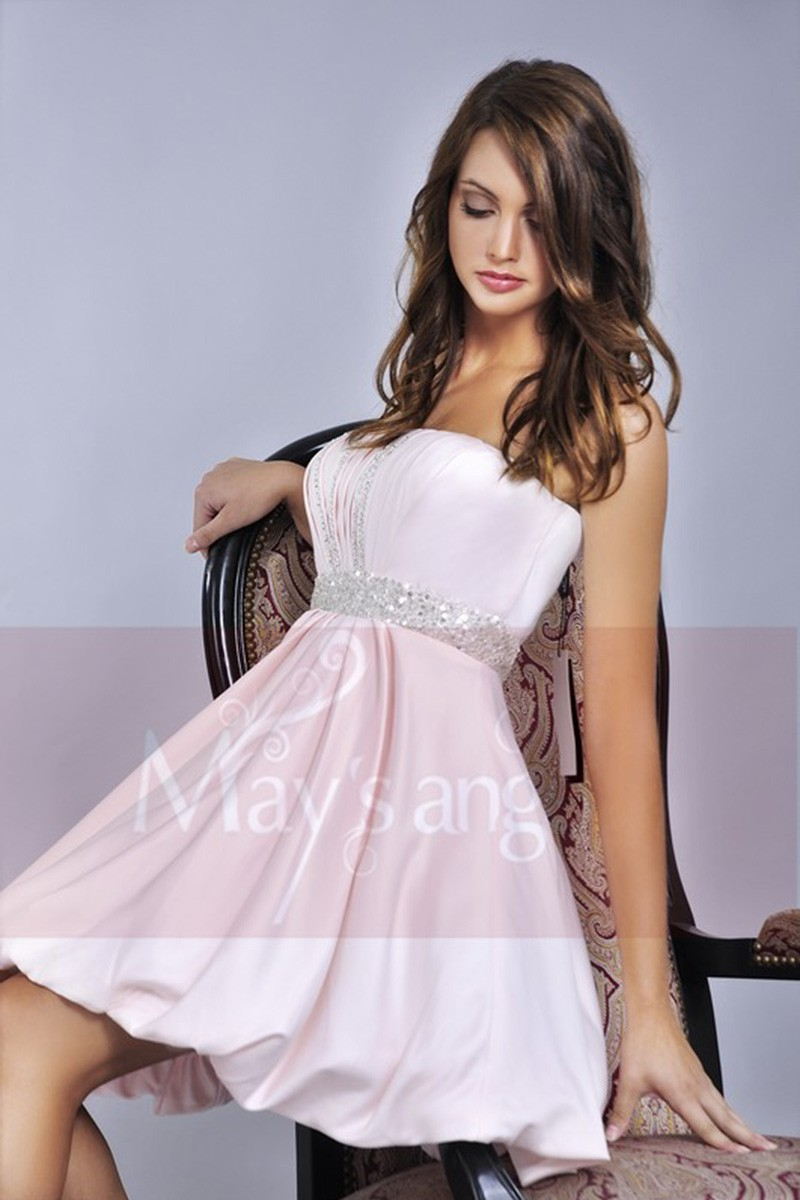 c69e8e6132f Pink Strapless Ball Gown For Prom With Rhinestones - Ref C052 - 01