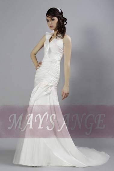 White wedding dress - Online wedding dress Sweet mermaid style and short train - M011 #1