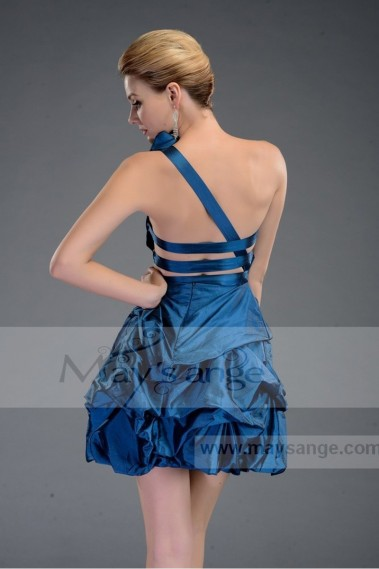 Discount blue satin cocktail dress C021
