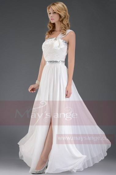 Long White Chiffon Evening Dress With Slit