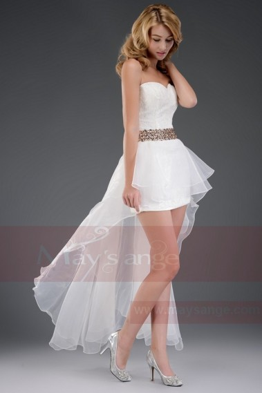 Asymetric White Sexy Dress With Golden Belt For Cocktail Party - L106 #1