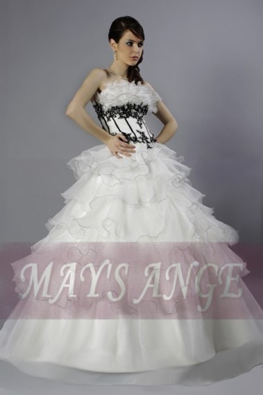 Long wedding dress - Wedding dress Hannah Bustier Black and White - M012 #1