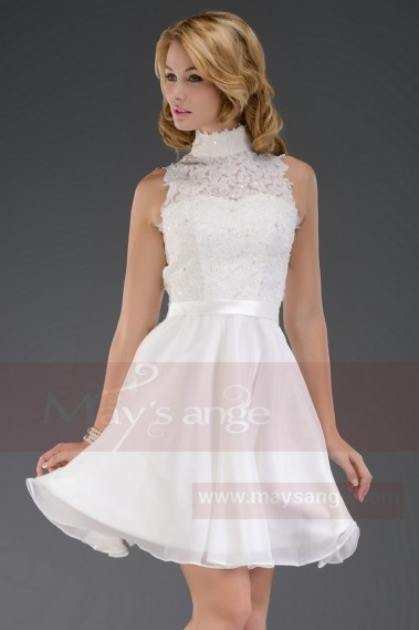 Short cocktail dress - Cute White Bride Dress - C095 #1