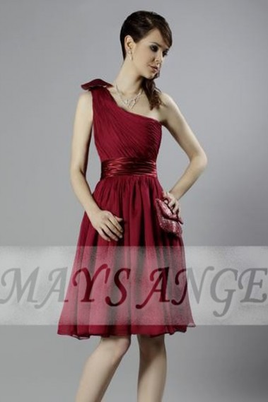 Long cocktail dress - Short One-Shoulder Raspberry Party Dress - C055 #1