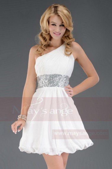Long cocktail dress - Cute White And Silver Dress For Cocktail - C029 #1