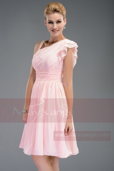 Robe de cocktail bretelle - Robe de cocktail rose courte - C463 #1