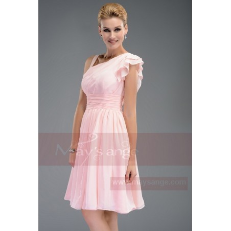 Robe de cocktail   Couleur rose - Ref C463 - 02