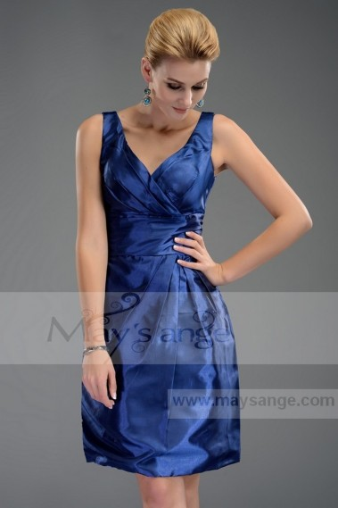 Robe de cocktail chic - Robe de cocktail Bleu profond en taffetas C492 - C492 #1