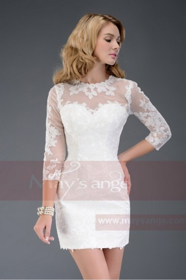Short cocktail dress - White Cocktail dress with Tatoo lace Sleeves - C508 #1