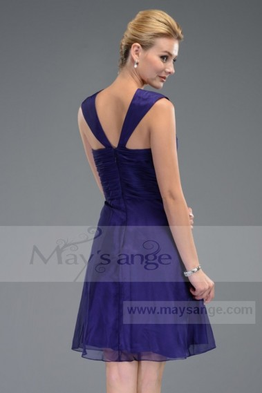 Long cocktail dress - Short A-Line Purple Cocktail Dress With Wide Straps - C509 #1