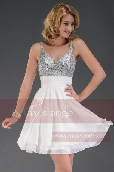 Elegant Evening Dress - SHORT COCKTAIL DRESS WITH GLITTER V NECKLINE AND THIN STRAPS - C538 #1
