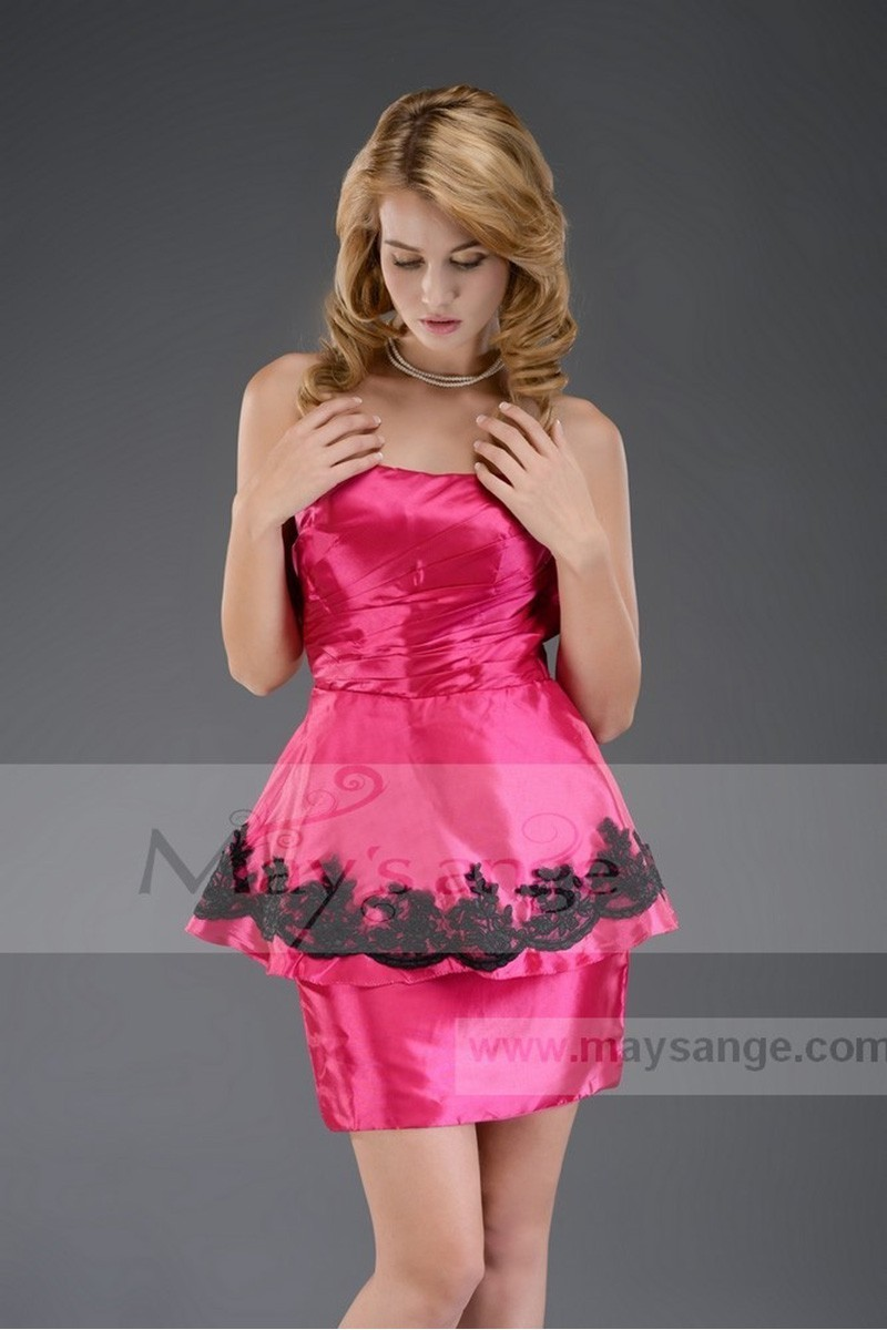Promotion robe de cocktail C541 Fuchsia - Ref C541 Promo - 01