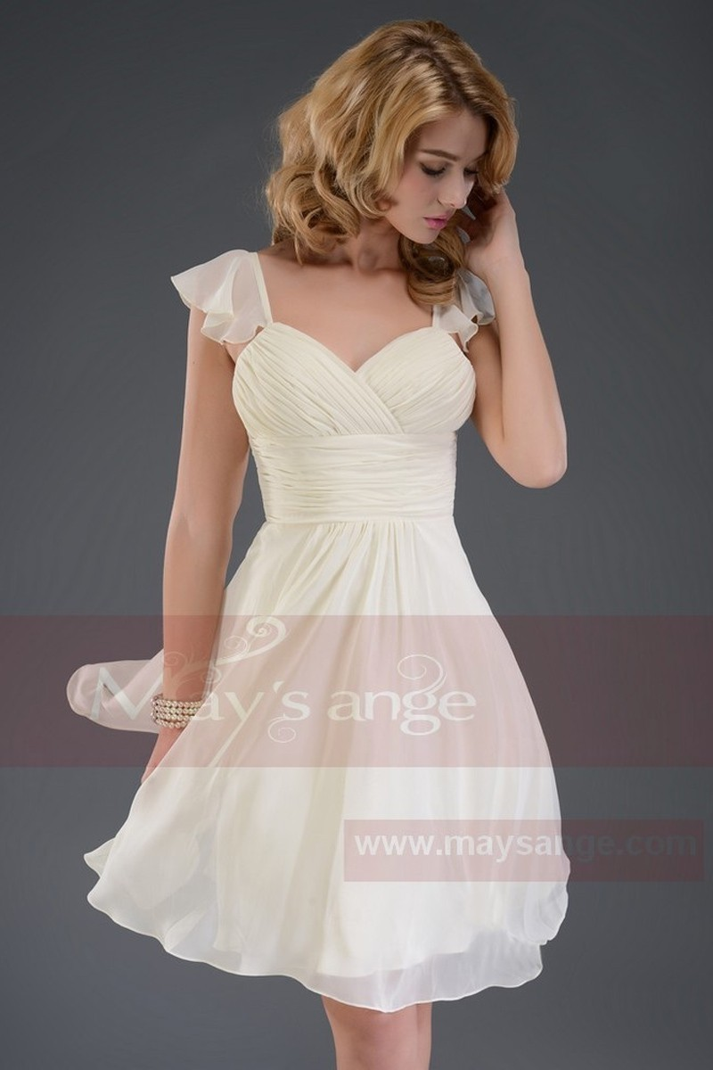 393f9a9605 Pale Champagne Short Cocktail Dress-Butterfly Sleeves - Ref C544 - 01