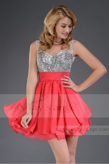 Cheap short dresses - Short dress girl red C547 - C547 #1