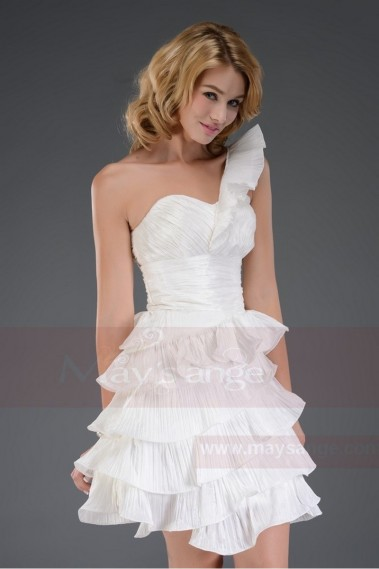 Robe cocktail blanche courte volants C549 - C549 #1