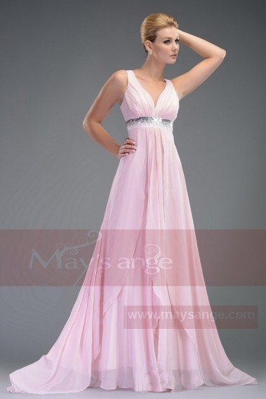 Elegant Evening Dress - ELSA dress chic pink strap evening with maysange - L504 #1