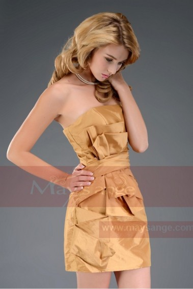 Short cocktail dress C545 shorte beige dore - C545 Promo #1