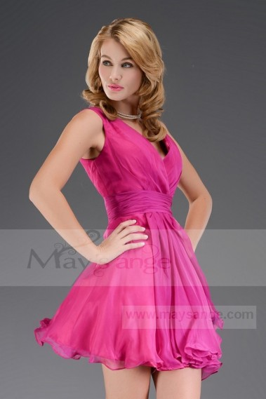Cheap short dresses - super short dress Chiffon Fuchsia C503 - C503 #1