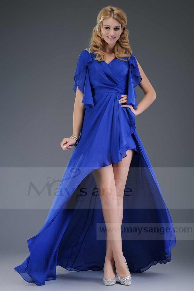 Asymmetric Royal Blue Cocktail Dress With Open Sleeves - Ref L100 - 01