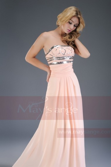 Pink bridesmaid dress - Long white evening dress Lady of the manor in muslin with sequins - L032 #1