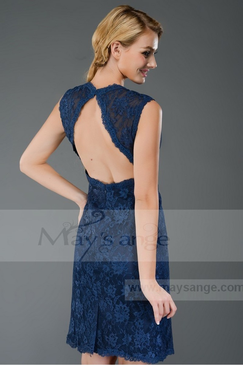 Short Gemstone Blue Lace Open-Back Cocktail Dress - Ref C301 - 01