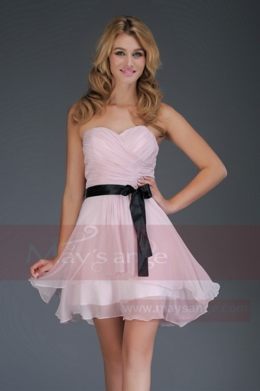 Pink evening dress - strapless evening dress short pink purple C309 - C309 #1