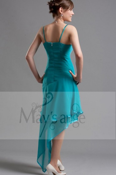 Turquoise Short Party Dress With Asymmetrical Hem - C064 #1