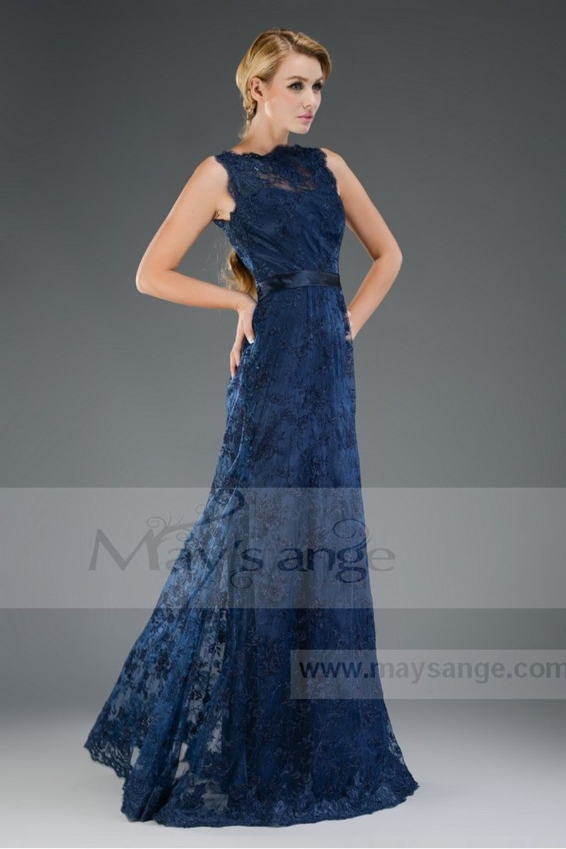 Long Blue Ocean Lace Evening Dress with Round Neck - Ref L524 - 01