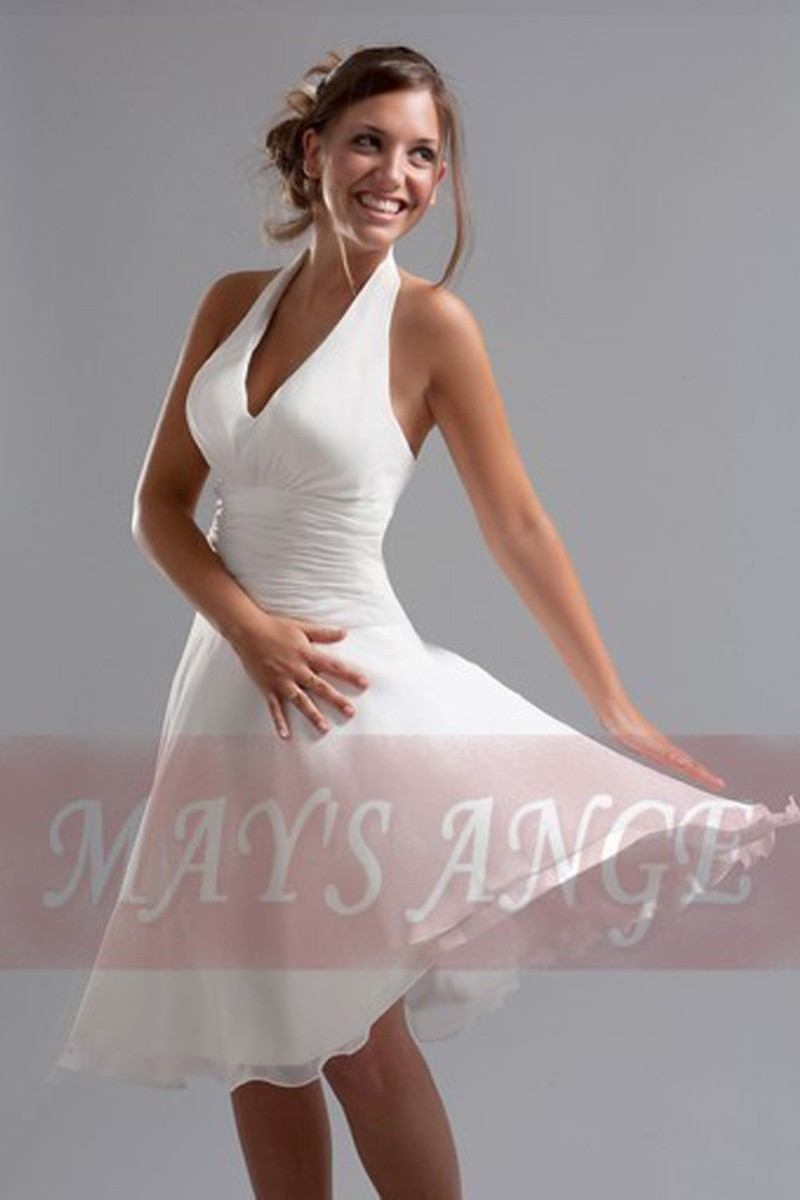 Robe blanche Marilyn de cocktail - Ref C066 - 01