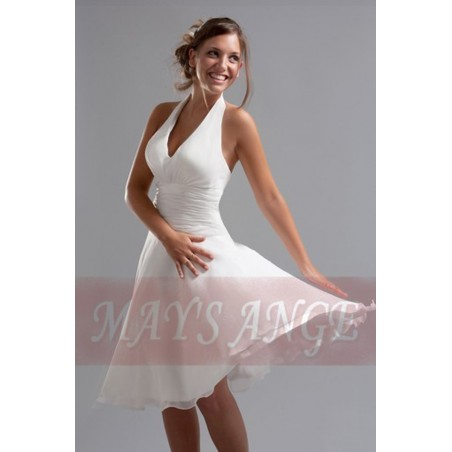 Robe blanche Marilyn de cocktail - Ref C066 - 02