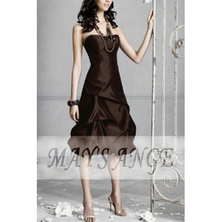 Robe marron intense courte de cocktail - Ref C068 - 02