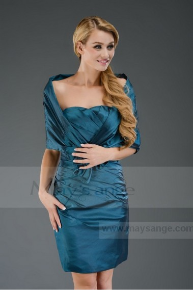 Cheap short evening dress with his stole C312 - C312 #1