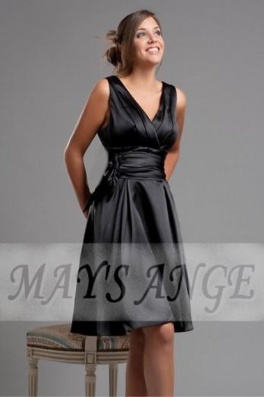 Evening Dress with straps - Short Black Cocktail Dress In Satin Fabric - C072 #1