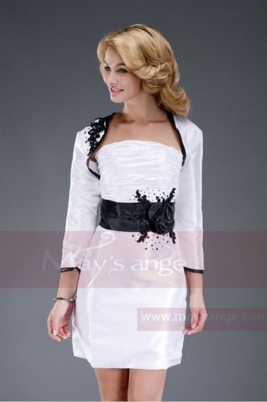 Short evening dress - Short White Strapless Dress With Matching Bolero - C457 #1