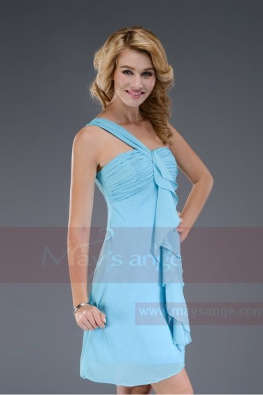 Cheap short dresses - Small blue dress with one shoulder strap C458 - C458 #1