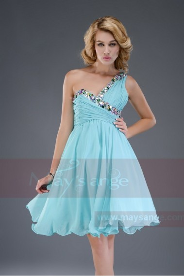 Short evening dress - Blue Sky dress decorated with colored stones C555 - C555 #1