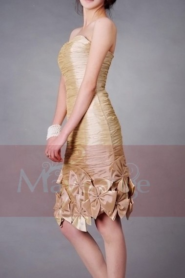Straight cocktail dress - Golden Strapless Bridesmaid Dress With Flowers Hem - C071 #1