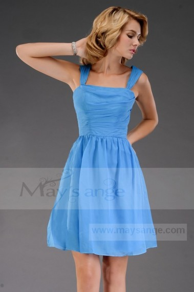 Cheap short dresses - Blue short evening dress C473 - C473 #1