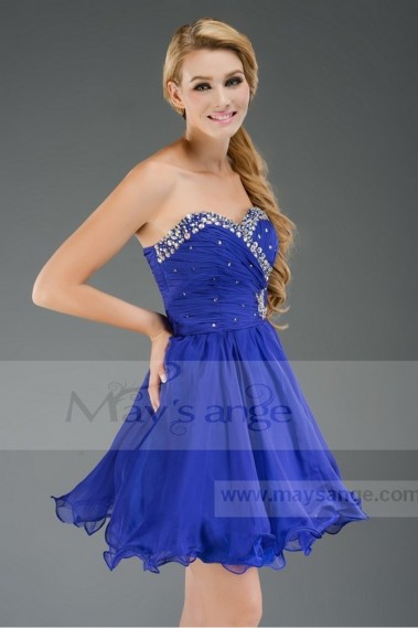 Short Wedding Dress - Dress for bridesmaid C468 Blue King - C468 #1