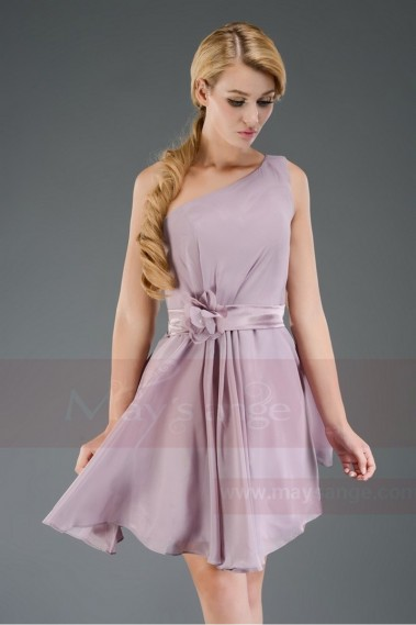 Short evening dress - Agatella short dress in violet purple with belt C552 - C552 #1