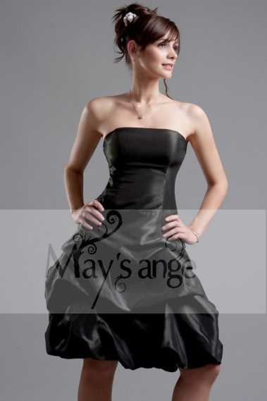 Long cocktail dress - Taffeta Black Strapless Formal Gown - C074 #1