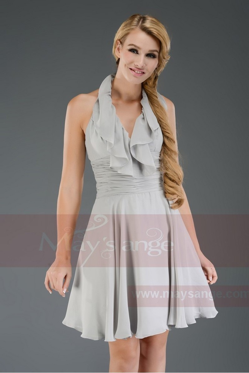 Robe de cocktail gris pale bretelle autour du cou - Ref C652 - 01