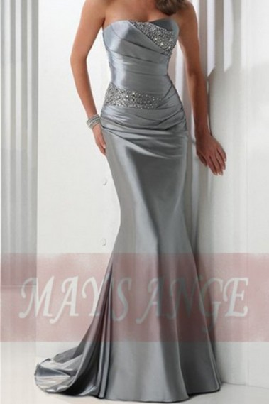 Elegant Evening Dress - Long Formal Silver Dress Bodice Draped And Beaded - L066 #1