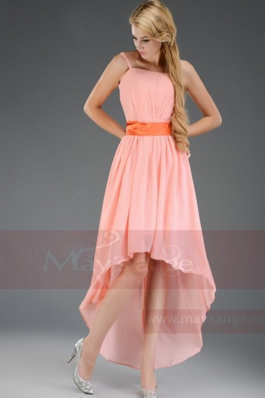 Toulouse asymmetrical dress pink salmon with a belt - C655 #1