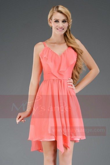 Short evening dress light pink coral C656 - C656 #1