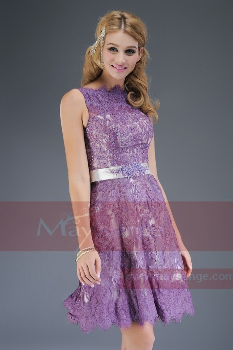 Short Embroidered-Lace Violet Homecoming Party Dress - Ref C600 - 01