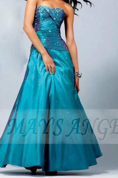 Formal evening dress Turquoise Water in satin - L067 #1