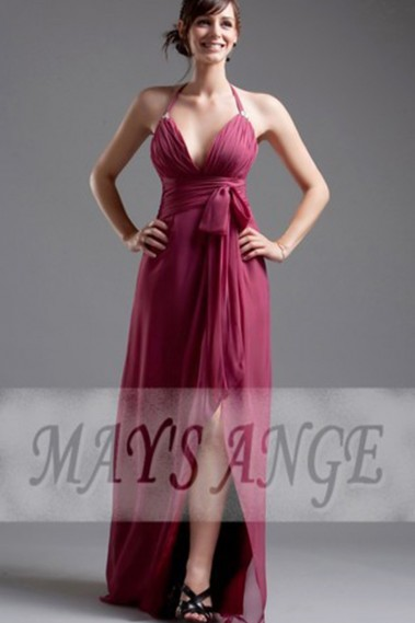 Pink bridesmaid dress - Long evening gown dress Wine in muslin - L069 #1