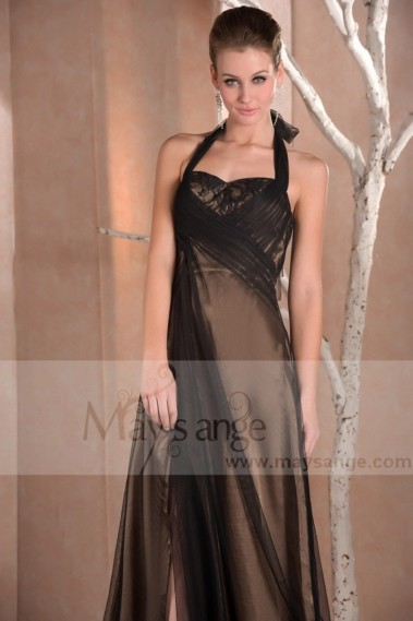 Brown evening dress - L653 London ice brown and black evening dress - L653 #1
