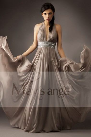 A-Line High Neck Long Chiffon Evening Dress - L070 #1
